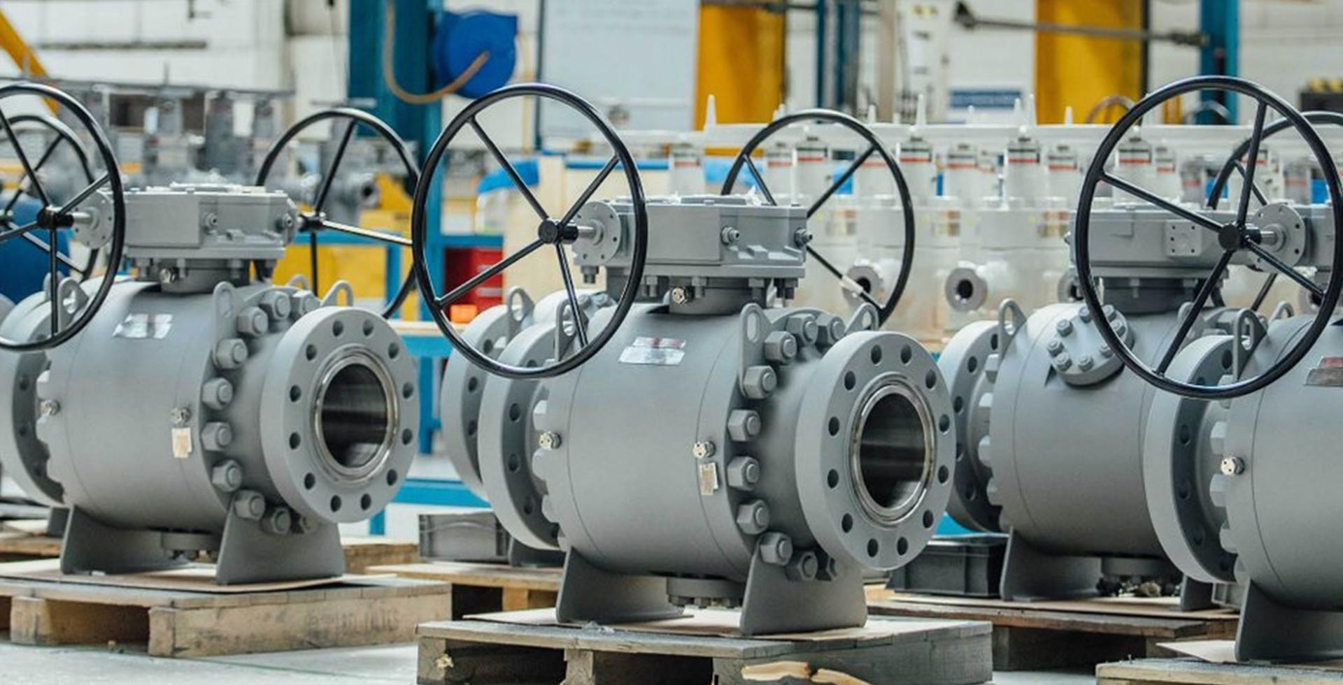 Globe valve manufacturer in india displays grey painted industrial valves inside the workshop